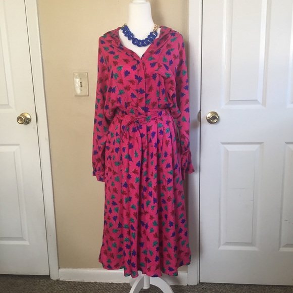 Vintage crissa 100% silk midi dress (size:12)